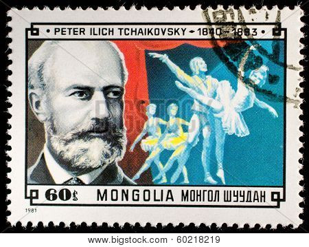 MONGOLIA - CIRCA 1981: A stamp printed by Mongolia, shows Peter Ilich Tchaikovsky, circa 1981