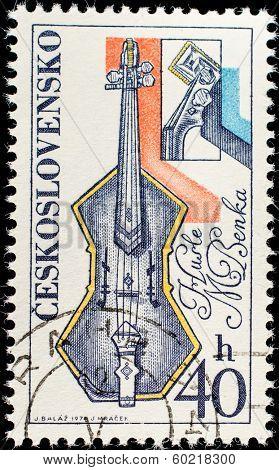 CZECHOSLOVAKIA - CIRCA 1974: A stamp printed in Czechoslovakia, shows Musical instrument, circa 1974