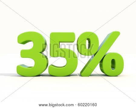 Thirty five percent off. Discount 35%. 3D illustration.