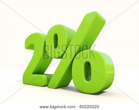 Two percent off. Discount 2%. 3D illustration.