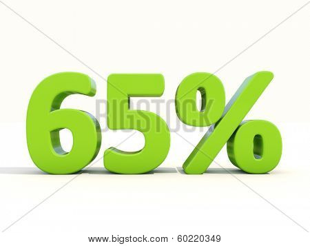 65 percent off. Discount 65%. 3D illustration.