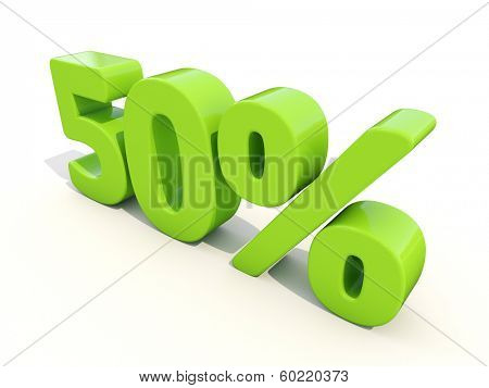 Fifty percent off. Discount 50%. 3D illustration.