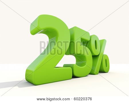Twenty five percent off. Discount 25%. 3D illustration.