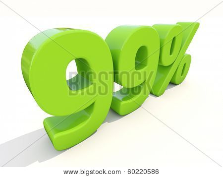 Ninety-nine percent off. Discount 99%. 3D illustration.