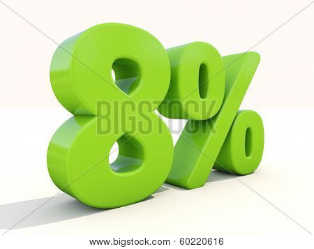 Eight percent off. Discount 8%. 3D illustration.