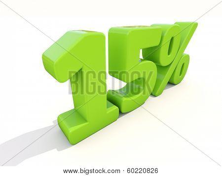 Fifteen percent off. Discount 15%. 3D illustration.