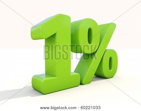 One percent off. Discount 1%. 3D illustration.