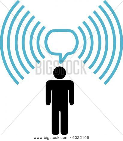 Wi-fi Symbol Man Talks On Wireless Network