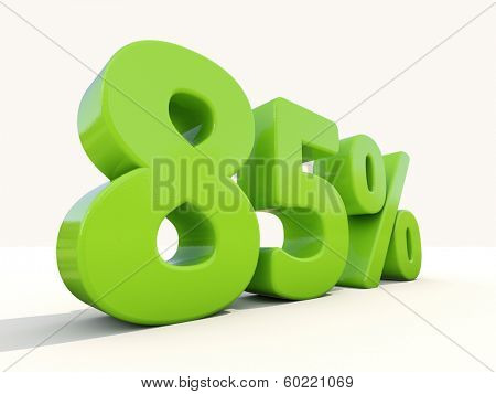 Eighty five percent off. Discount 85%. 3D illustration.