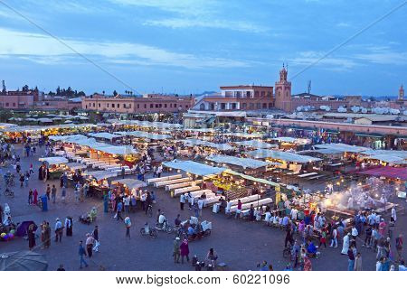 Djemaa el Fna market in Marrakesh, Morocco at sunset