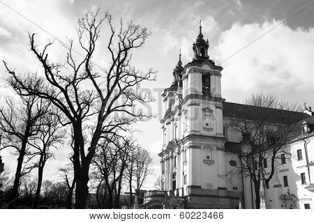 Church of St.Stanislaus Bishop in Krakow, Poland. (black and white photography)