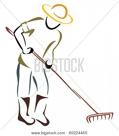 Farmer with garden rake