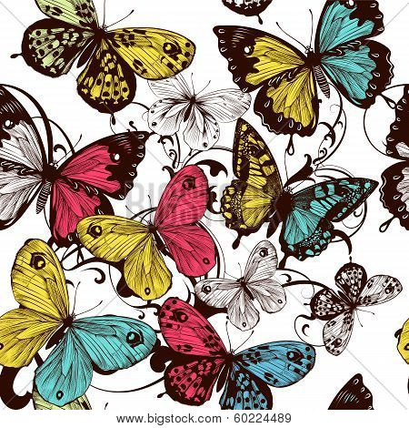 Vector Seamless With Colorful Butterflies