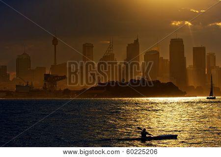 Kayak on Sydney Harbour at sunset