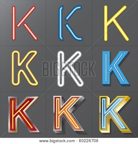 Set Of Neon Style Alphabet K, Eps 10 Vector, Editable For Any Background, No Clipping Masks