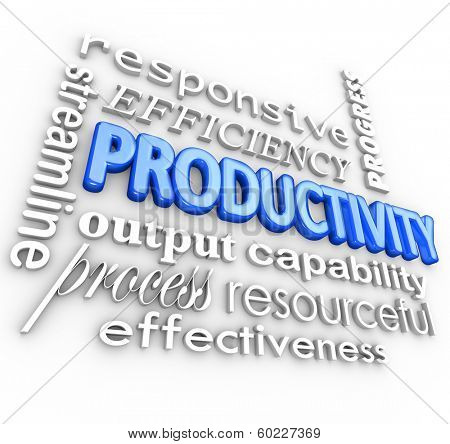 Productivity Efficiency Words Streamline Business Process System