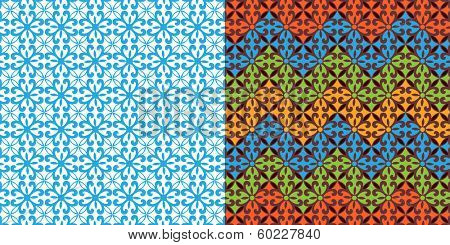 Colorful pattern (stencil cutout at left is the inner pattern of right panel) layered