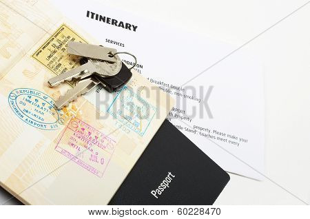 travel documents and car keys