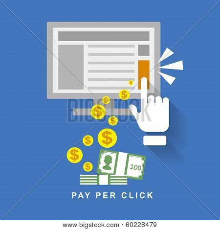Flat Design Web Marketing Pay Per Click