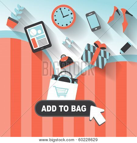 Flat Design Concept Of Add To Bag