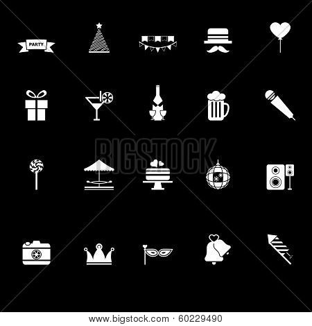 Party Time Icons With Reflect On Black Background