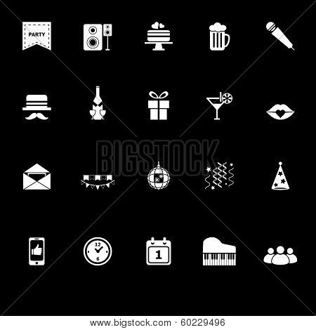 Celebration Icons With Reflect On Black Background