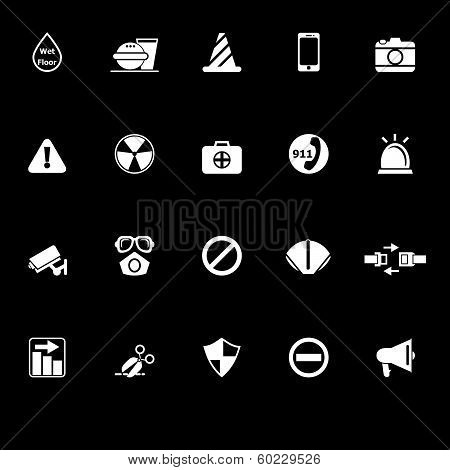 General Useful Icons With Reflect On Black Background