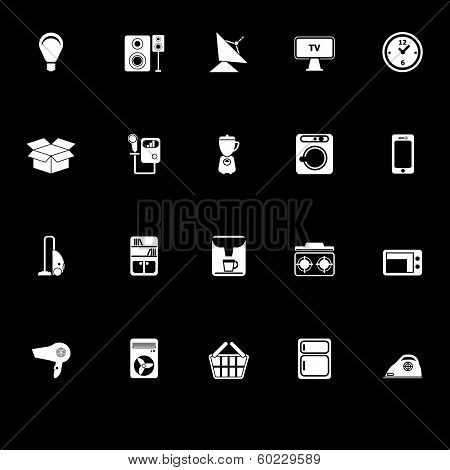 Home Related Icons With Reflect On Black Background