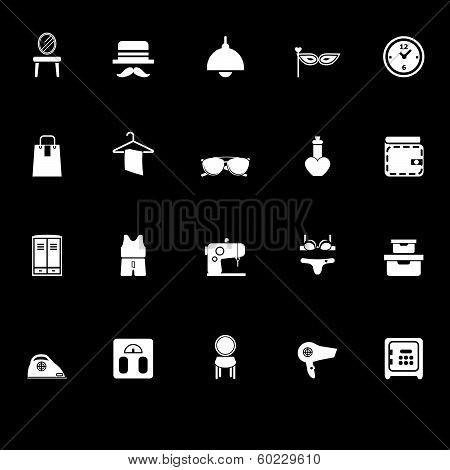 Dressing Room Icons With Reflect On Black Background