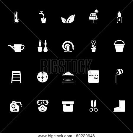 Home Garden Icons With Reflect On Black Background