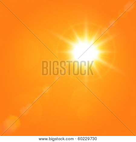 Vector summer background with a magnificent summer sun burst with lens flare. Summer natural background with vector sun.