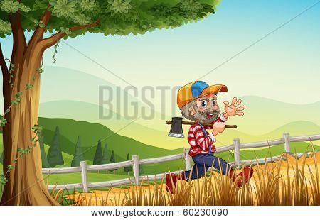 Illustration of a woodman walking at the hill happily