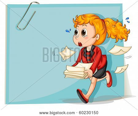 Illustration of a woman running while carrying some documents on a white background