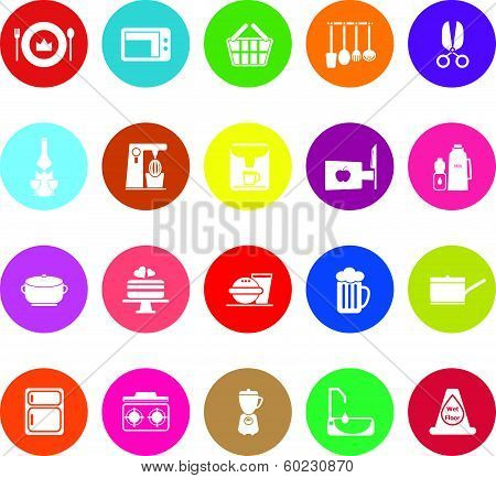 Home Kitchen Flat Icons On White Background