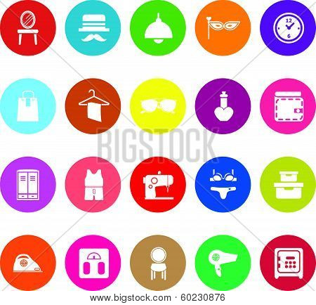 Dressing Room Flat Icons On White Background