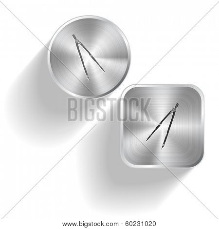 Caliper. Vector set steel buttons