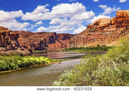 Colorado River Rock Canyon Reflection Green Grass Outside Arches National Park Moab Utah