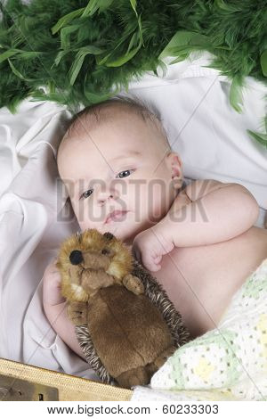 Baby Lying With Fury Toy