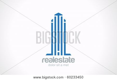 Skyscraper Real Estate vector logo design template. Realty sign. Corporate Business Building icon