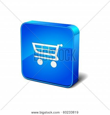 Shop 3d Rounded Corner Blue Vector Icon Button
