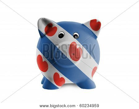 Ceramic Piggy Bank With Painting Of National Flag