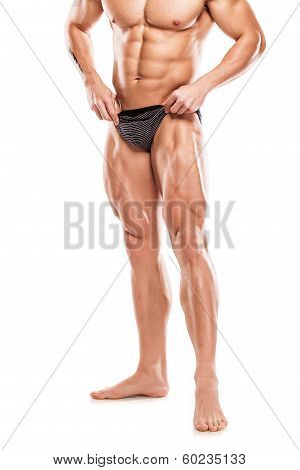 Strong Athletic Man Fitness Model Torso Showing Naked Muscular Body And Legs