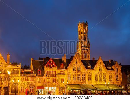 old houses with Belfort tower, Bruges