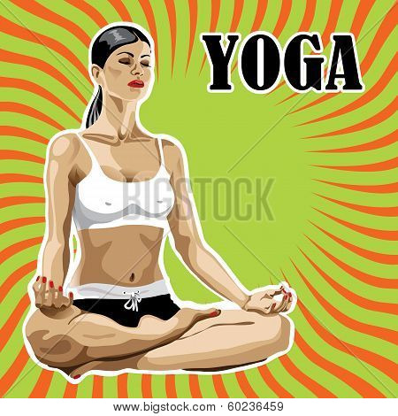Woman Practicing Yoga In Lotus Pose.abstract Background