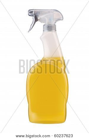 Plastic dispenser with orange cleaning liquid