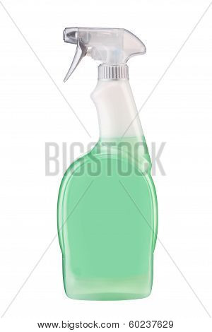 Plastic dispenser with green cleaning liquid