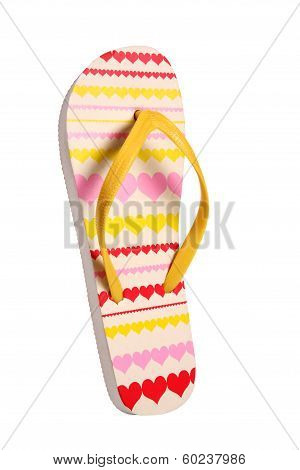 Brightly colored flip flops with hearts