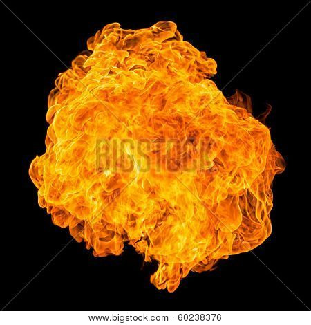 Fireball explosion black background