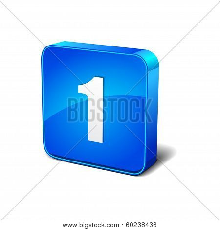 1 Number Rounded Corner Blue Vector Icon Button