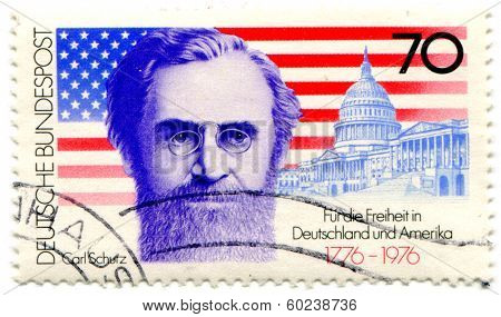 GERMAN -CIRCA 1976: German postage stamp envisioning German and United States of America friendship, circa 1976